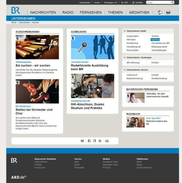 Karriereseite Bayerischer Rundfunk - Stellenangebote und Infos zur Ausbildung