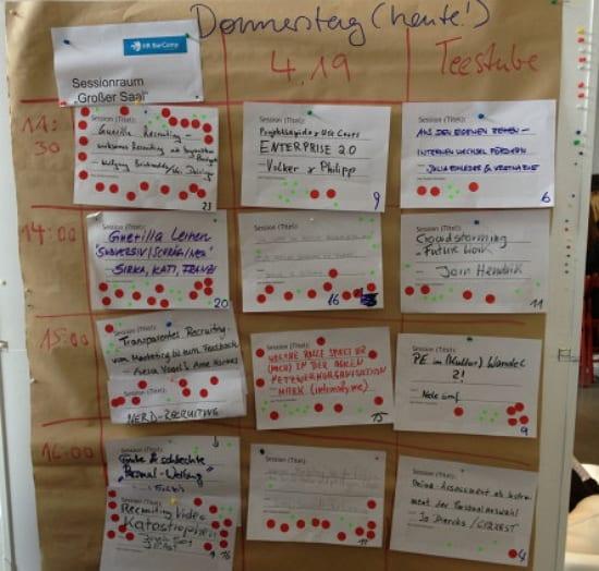 HR-Barcamp 2013 Sessionplanung erster Tag
