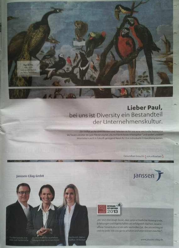 Great Place to Work - Deutschlands bester Arbeitgeber - Janssen Cilag - Imageanzeige