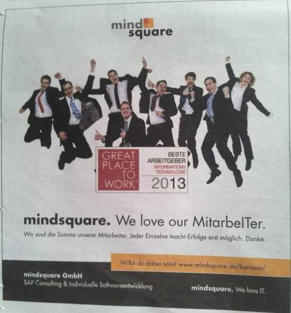 Great Place to Work - Deutschlands bester Arbeitgeber - Mindsquare Employer Branding mit Imageanzeige