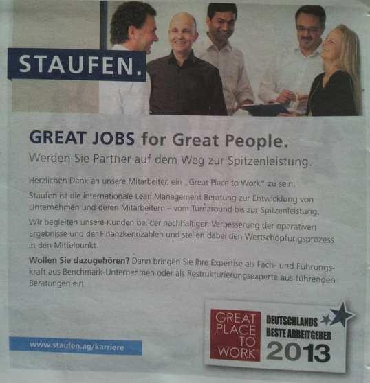 Great Place to Work - Staufen  Imageanzeige im Handelsblatt