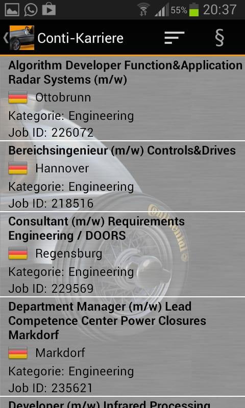 Anzeige der Jobs - Job App Continental Karriere