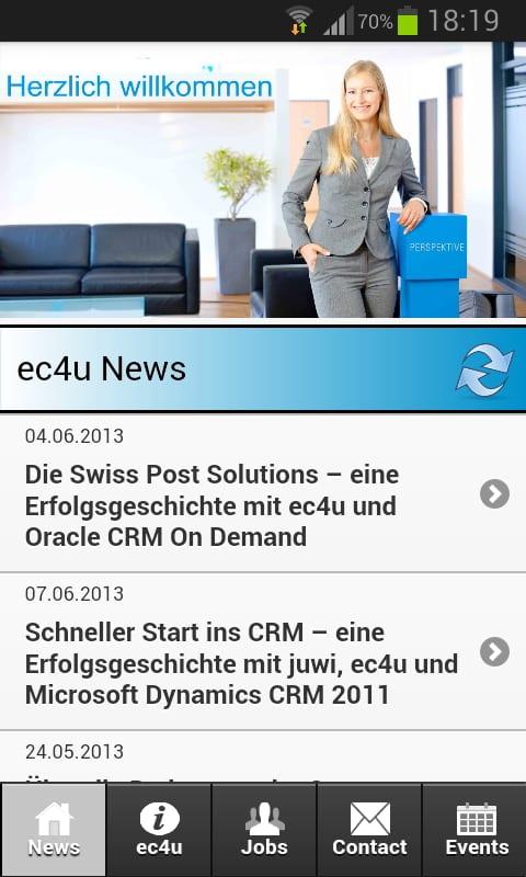 Mobile Job App von ec4u - Startbildschirm