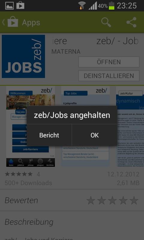 Mobile Job App von zeb - das passiert immer wieder: die Jobbörse hängt sich auf