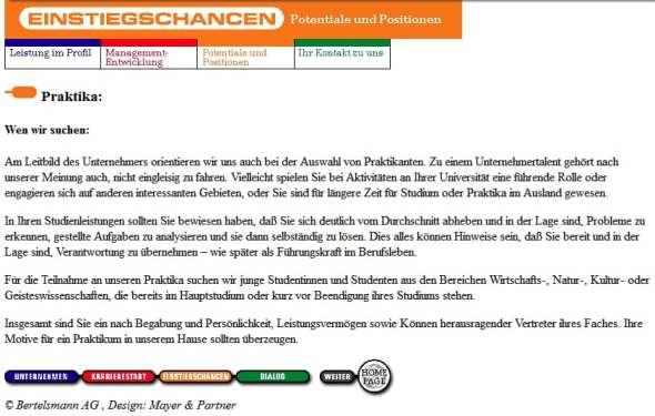 Personalmarketing anno 1997 - Infos für Praktikanten auf der Bertelsmann Karriere-Website