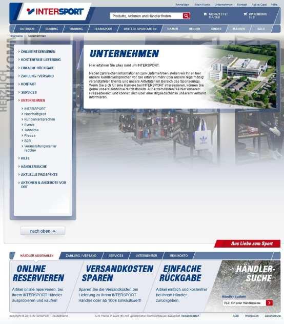 Intersport Unternehmens-Startseite. Immer noch keine Infos zur Ausbildungs-Offensive.