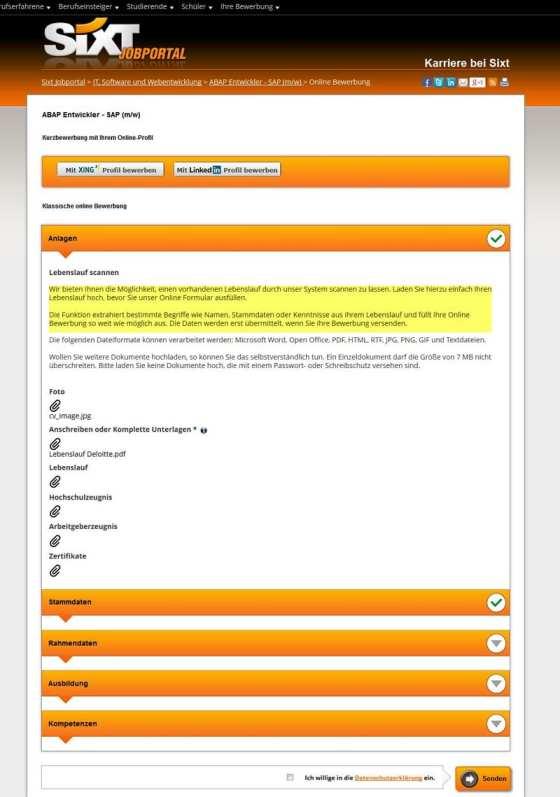 Bewerbermanagement-Systeme - CV-Parsing bei rexx am Beispiel des Sixt Jobportals