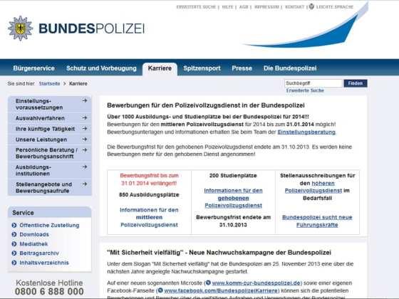 Karriere-Website der Bundespolizei