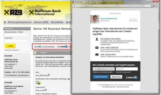 Bewerbermanagement-Systeme: One-Klick-Bewerbung von rexx systems im Einsatz bei Raiffeisen