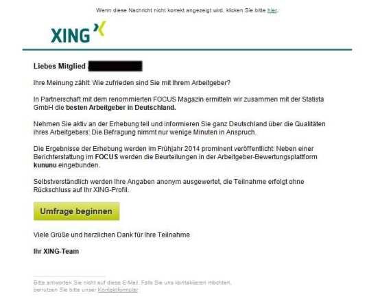 Aufruf an Xing-Mitglieder