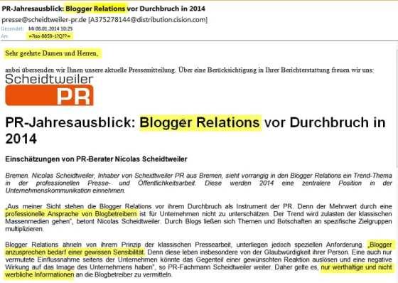 Scheidtweiler PR: Blogger Relations vor dem Durchbruch - finde den Fehler!