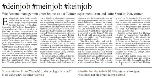 Social Müdia oder nicht? #deinjob #meinjob #keinjob-Artikel in der FAZ