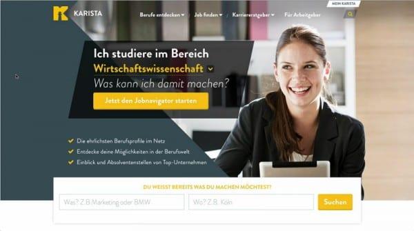 karista - Startseite mit Jobnavigatior