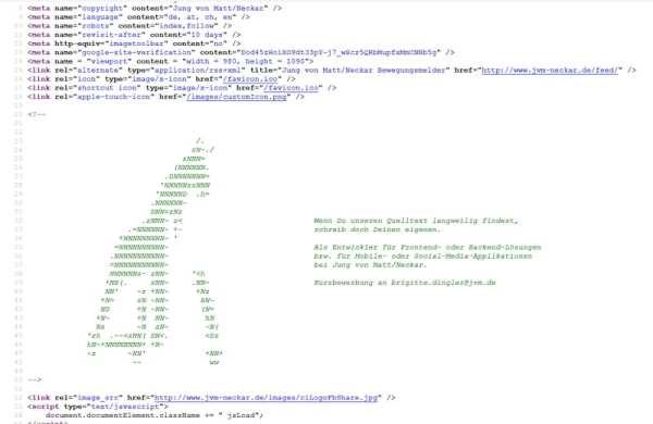 Entwickleransprache per Quellcode bei JvM