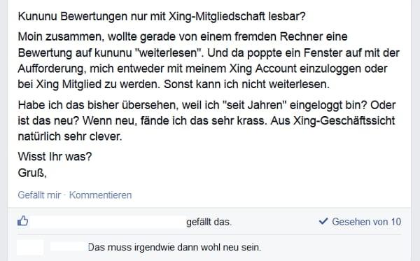 kununu-Bewertungen nur mit Xing-Mitgliedschaft lesbar
