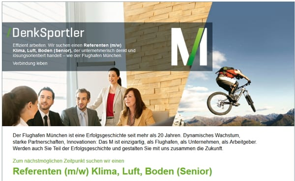 Stellenangebot Referent Klima, Boden, Luft Senior - Flughafen München