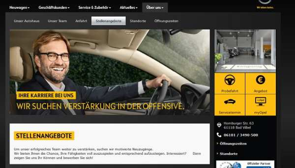 Oh Opel - Karriereseite ohne Informationen - so nicht