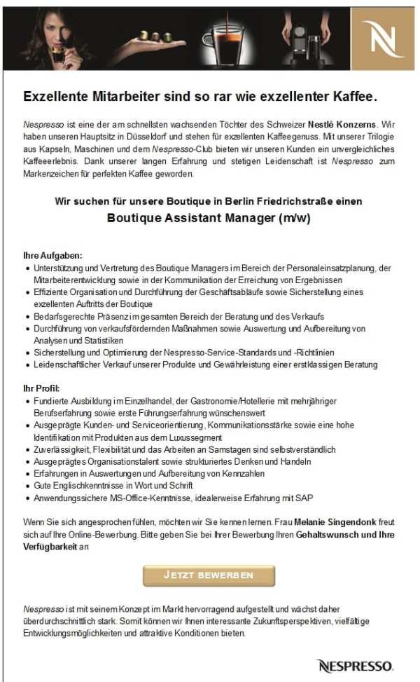 Stellenangebot Boutique Assistant Manager