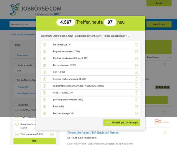 Suche nach Personalreferent bei Jobbörse.com mit Smartfilter zu Fähigkeiten und Benefits