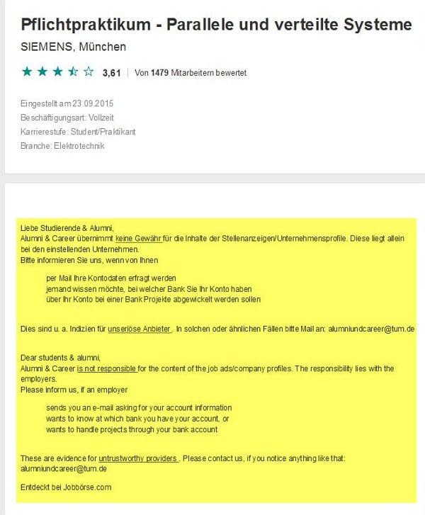 Fehlerhafte Stellenanzeige auf XING
