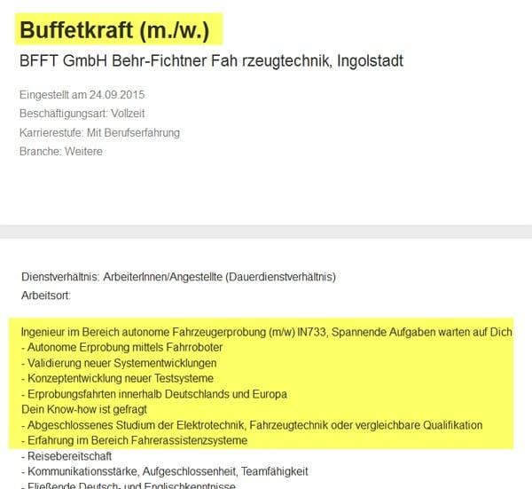 Stelle als Buffetkraft mit Ingenieursqualifikation auf Jobbörse