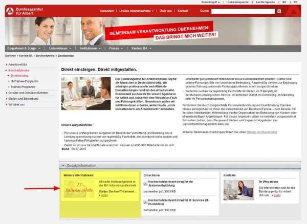 Hinweis auf IT-Stellenangebote bei der Bundesagentur für Arbeit