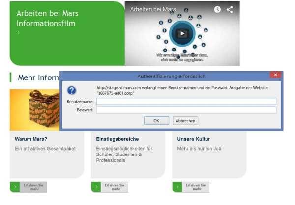 Informationen zum Arbeitgeber gibt es bei MARS nur per Passwort