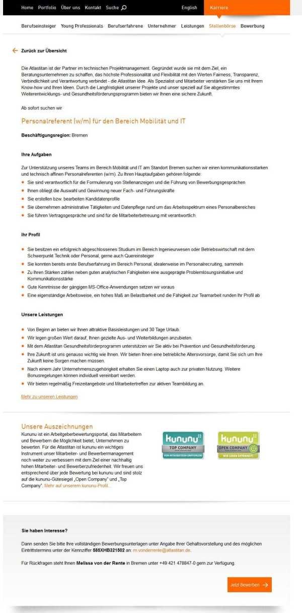 Stellenanzeige Personalreferent für den Bereich Mobilität und IT