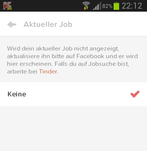 Appell auf dem Smartphone: Falls du auf Jobsuche bist, arbeite bei Tinder