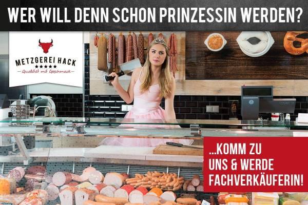 Fleischprinzessin - peinliche Personalwerbung bei Fleischerei Hack