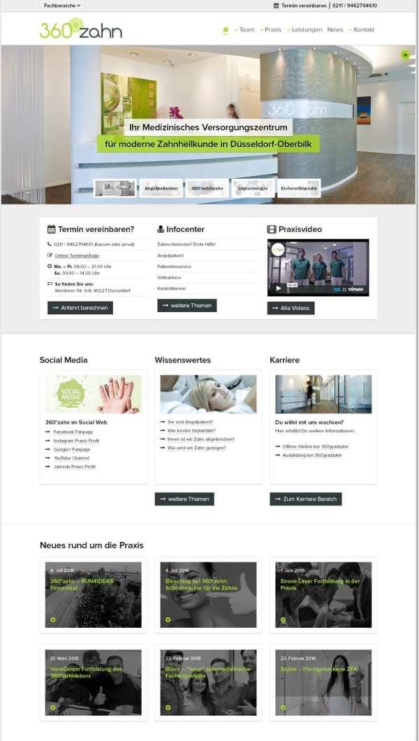Startseite 360GradZahn mit Karriere-Teaser
