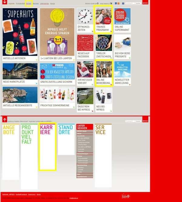 M-Preis nutzt seine Unternehmens-Website auch zur Bewerberansprache