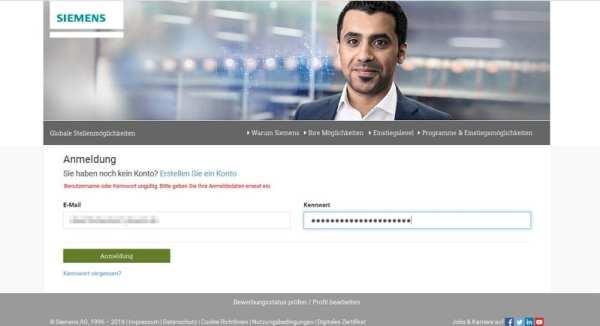 Online-Bewerbung bei Siemens - Anmeldung