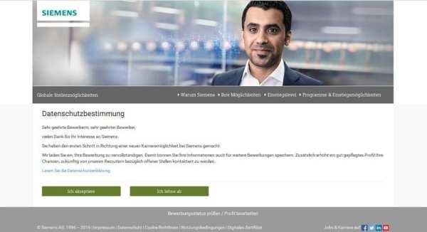 Online-Bewerbung bei Siemens - Datenschutzbestimmung