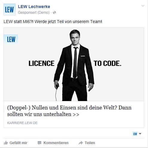 Personalmarketing auf Facebook - Lechwerke suchen SAP-Entwickler per Facebook-Ad