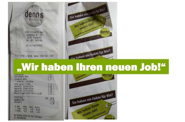 Bewerberansprache per Kassenbon - Personalmarketing bei denn's