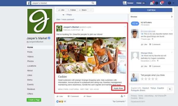 Jobs on Facebook - Stellenangebot auf Facebook-Seite