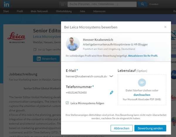 Online-Bewerbung mittels Profildaten: Bei LinkedIn möglich