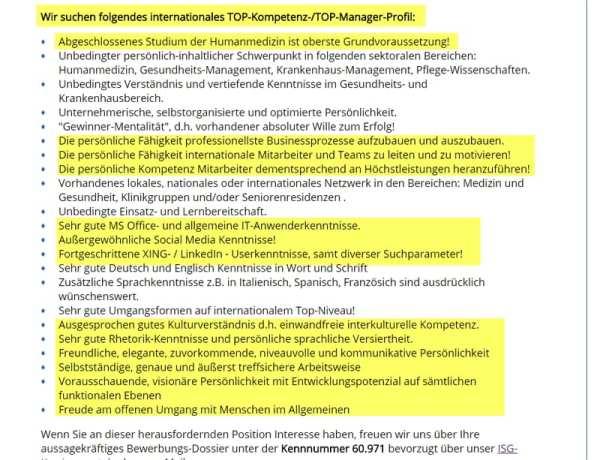 Floskeltriefendes, vollkommen überzogenes Anforderungsprofil in austauschbarer Stellenanzeige