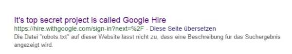 It's top secret project is called Google Hire