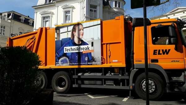 Außenwerbung für Ausbildung bei der ELW Wiesbaden an Müllauto