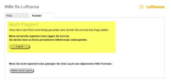 Lufthansa - Ohne Registrierung keine Ansprechpartner