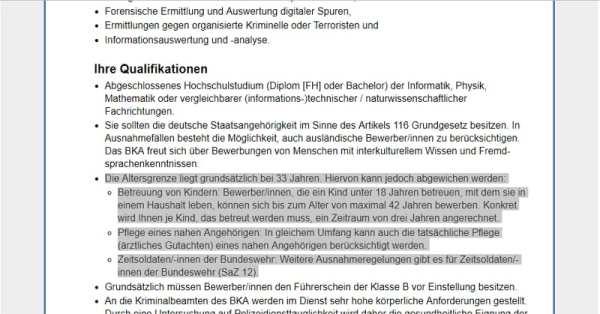 BKA-Stellenanzeige verstößt gegen das AGG
