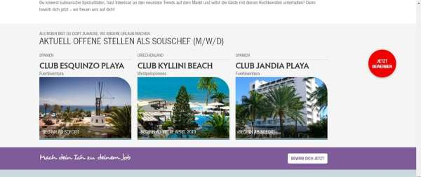 Klarer Call to Action und floatender Bewerbungsbutton - Screenshot Robinson Group
