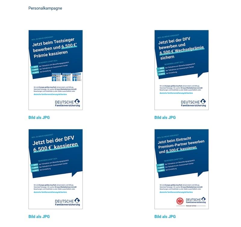 Die Motive der Personalmarketingkampagne lassen sich alle herunterladen - Quelle: Deutsche Familienversicherung
