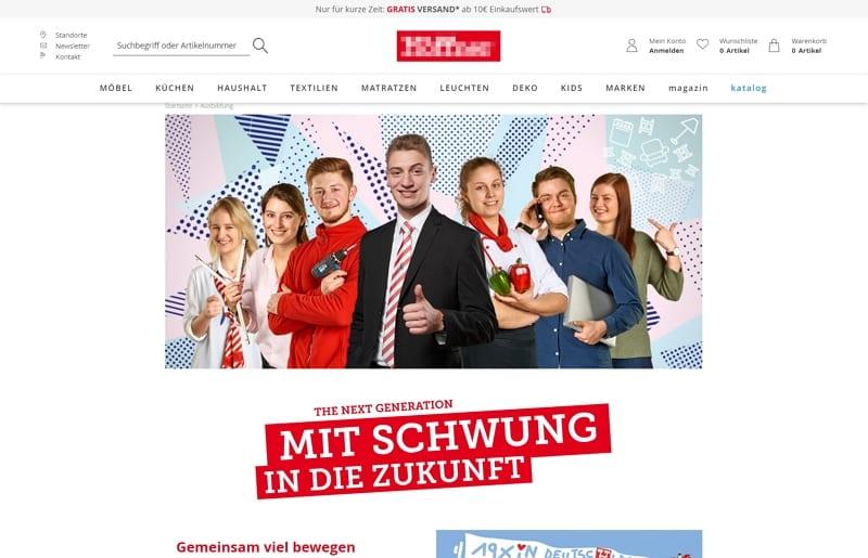 In den Unternehmensauftritt integrierte Karriereseite mit Werbung - Screenshot hoeffner.de