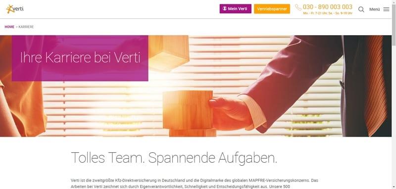 Irritierende Navigationselemente und Handlungsaufforderungen auf einer Karriereseite - Screenshot verti.de