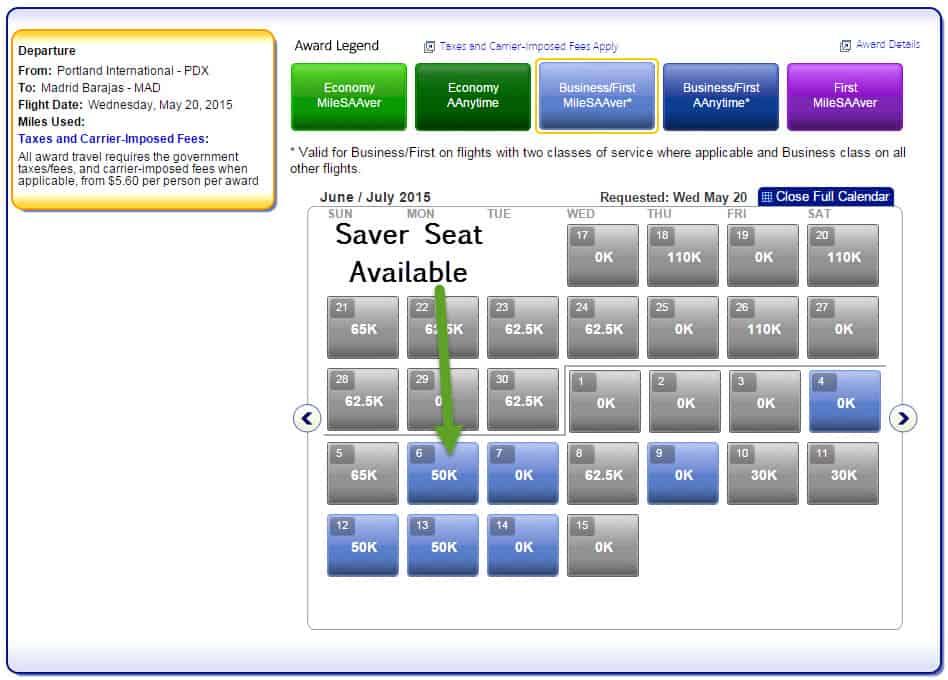 Award Seat Search
