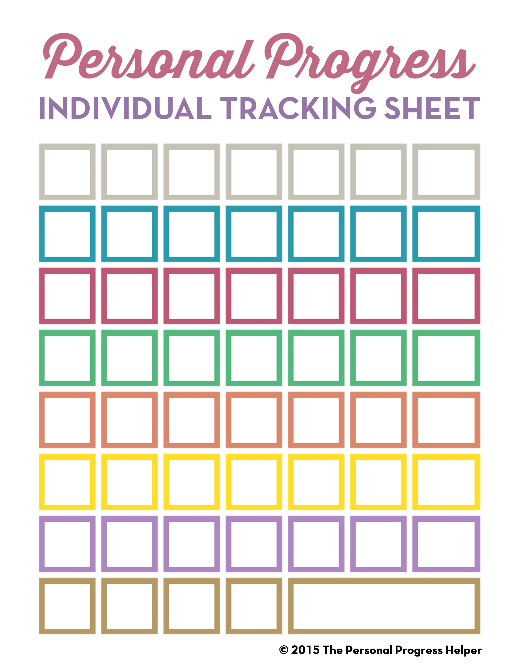 Personal Progress Individual Tracking Sheet