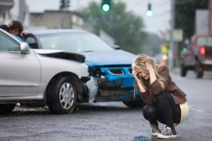 Young woman involved in road accident